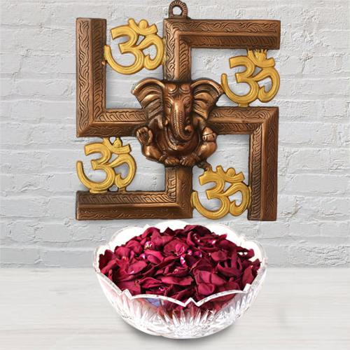 Divine Ganesha N Om Wall Hanging with Iris Potpourri