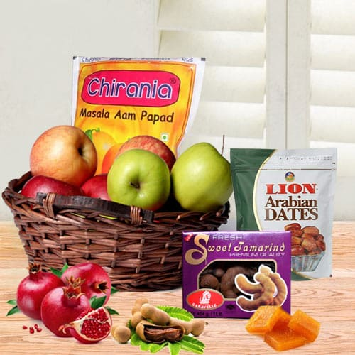 Lovable Gourmet N Fruit Surprise Gift Basket