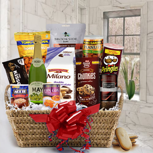 Exquisite Gourmet Gift Basket with Sparkling Fruit Juice
