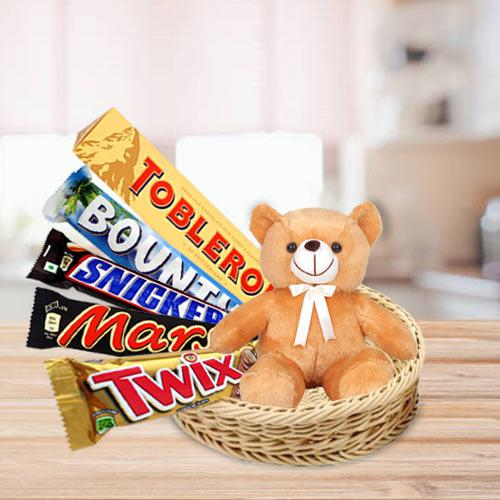 Exclusive Basket of Chocolates with Teddy