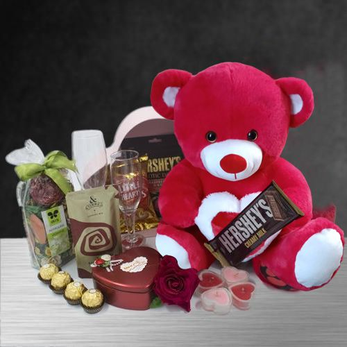 Dazzling Candle Lit Romantic Evening Hamper with Teddy n Imported Chocolates