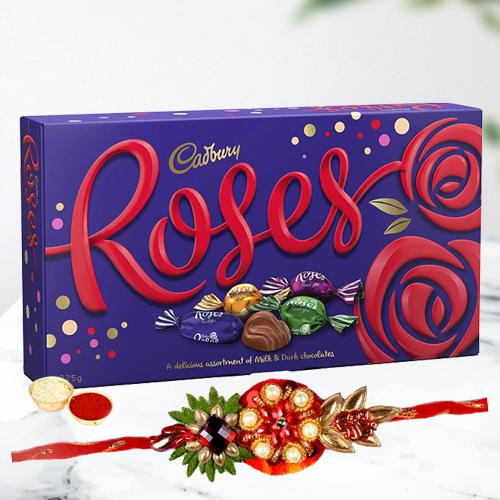 Stunning Rakhi with Cadbury Roses Chocolate