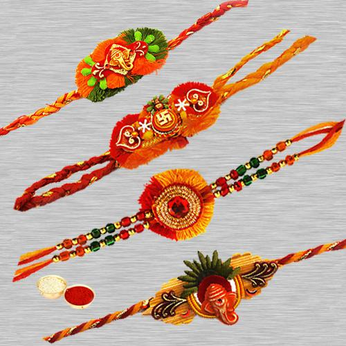 Stunning Four Rakhi Set