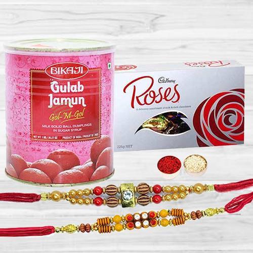 Winsome Combo Of 2 Rakhi With Cadbury Roses N Bikaji Gulab Jamun