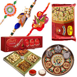 Magnificent  Rakhi Combo With Lindor Chocolate, Soan Papdi, Desingner Thali And Dry Fruits