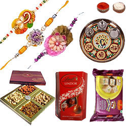 Captivating Rakhi Combo With Lindor Chocolate, Soan Papdi And Desingner Thali
