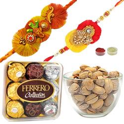 Attractive Ganesha Rakhi With Pistacio N Ferrero Rochers