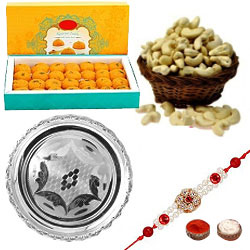 Pretty Rakhi With Silver Rakhi Thali, Cashews And Ladoo