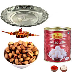 Nice Looking Rakhi Combo With Rakhi, Pistachio , Silver Puja Thali N Rasgulla