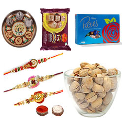 Three Aesthetic Rakhi Along With Pooja Thali, Cadbury Chocolate, Soan Papdi And Pistachio