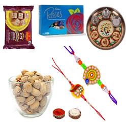 Brightful Combo Of 2 Rakhi Set Along With Pooja Thali, Cadbury Roses, Soan Papdi N Pistachio