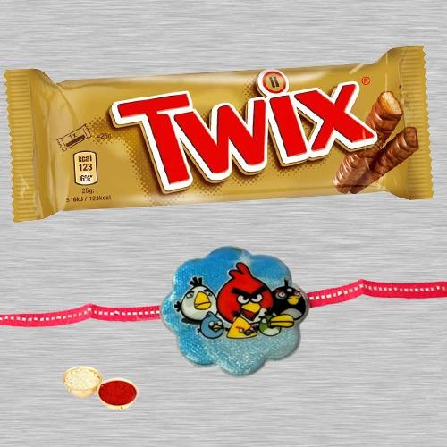 Ravishing Angry Bird Kid Rakhi And Twix Chocolate
