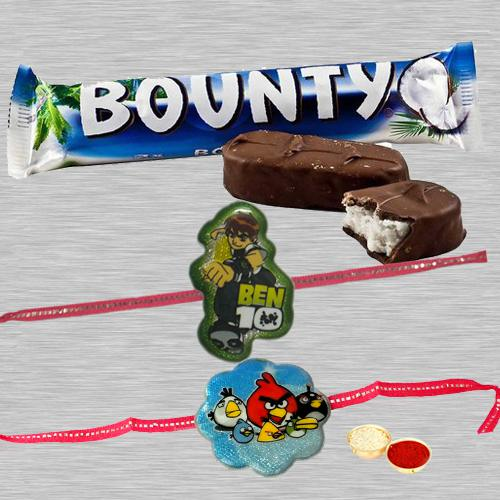 Remarkable Angry Bird Kid Rakhi, Ben10 Kid Rakhi With Bounty Chocolate