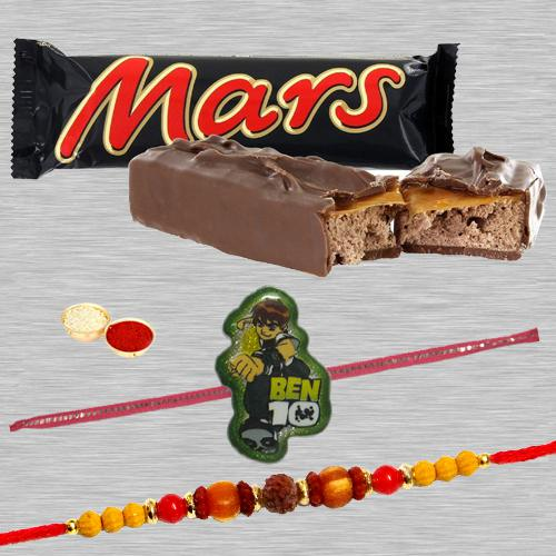 Attractive Bhaiya Rakhi, Ben10 Kid Rakhi And Mars Chocolate