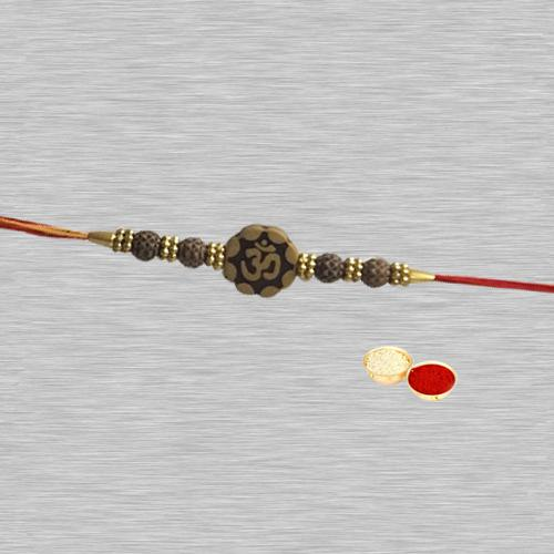 Traditional 1 Om Rakhi in Round Shape