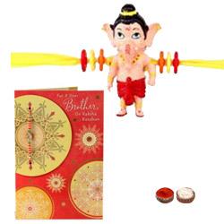 Appealing One Ganesh Pattern Kid Rakhi