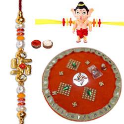 Outstanding Selection of One  Ganesh Kid Rakhi N One Bhai Rakhi with Rakhi Thali