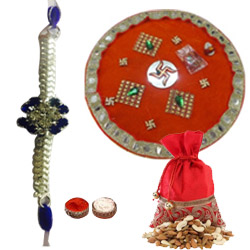 Remarkable Gift of 400g Mixed Dry Fruits with 1 Bhaiya Rakhi N Traditional Puja Thali