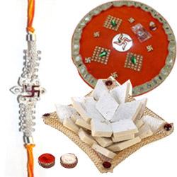 Marvelous Puja Thali with 1 Trendy Bhaiya Rakhi N Kaju Katli 500 gr.