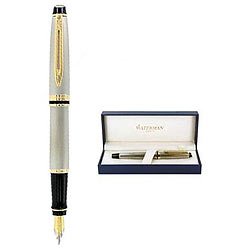 Astonishing Waterman Expert Stainless Steel Gold Trim Fountain Pen