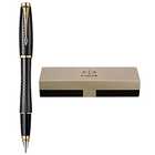 Appealing Parker Urban Premium Ebony Metal Chiselled Gold Trim Fountain Pen in Black
