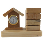 Refined Wooden Pen Stand and Clock Set