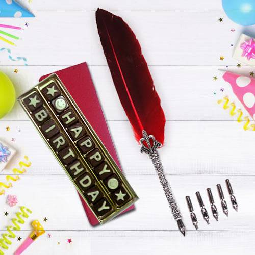 Wonderful Calligraphy Quill Set with Handmade Chocolates