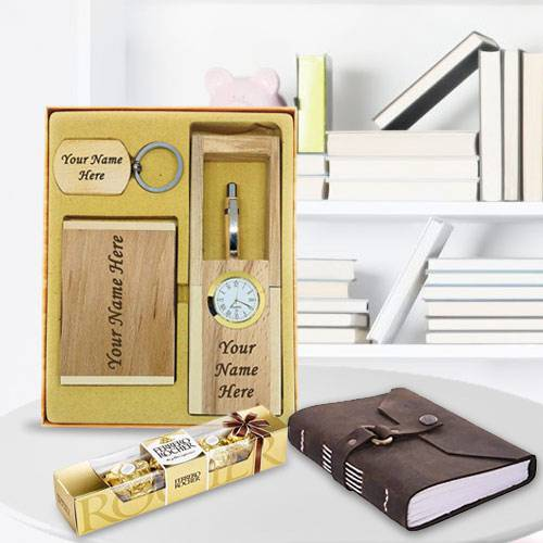 Exclusive Personalized Wooden Office Stationery Set