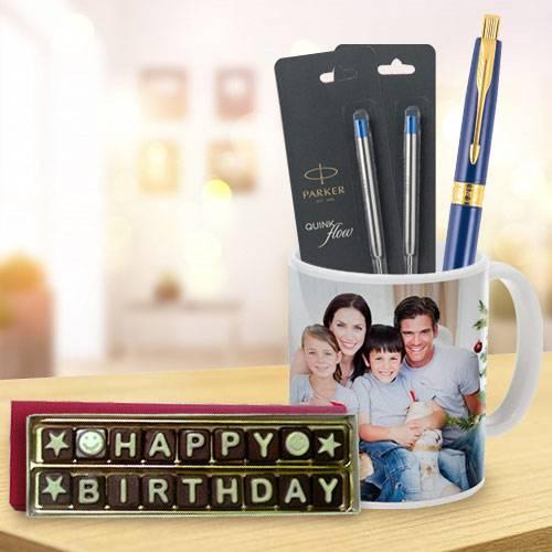 Splendid Parker Pen with Coffee Mug and Handmade Chocolate Combo