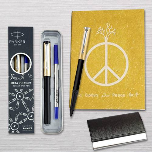 Appealing Parker Pen with Diary Planner and Visiting Card Holder Combo
