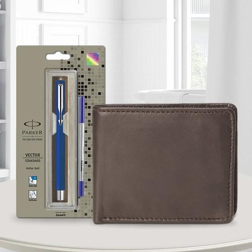 Classic Parker Vector Standard Ball Pen with a Brown Leather Wallet