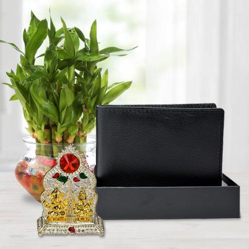 Beautiful Good Luck Bamboo Plant with a Gents Leather Wallet n Laxmi Ganesh Mandap
