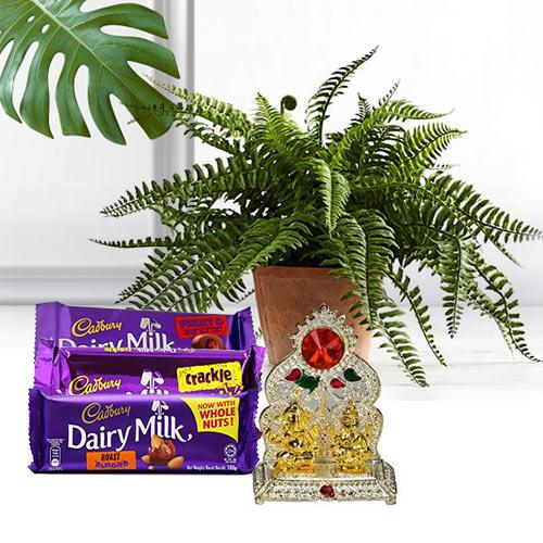 Classic Gift Set of Live Plant, Chocolates N Laxmi Ganesh Mandap