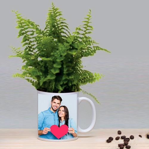 Hue of Green Bostern Fern in a Personalized Mug