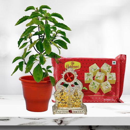 Go Green Plant Hamper with Laxmi Ganesh Mandap and Sweets