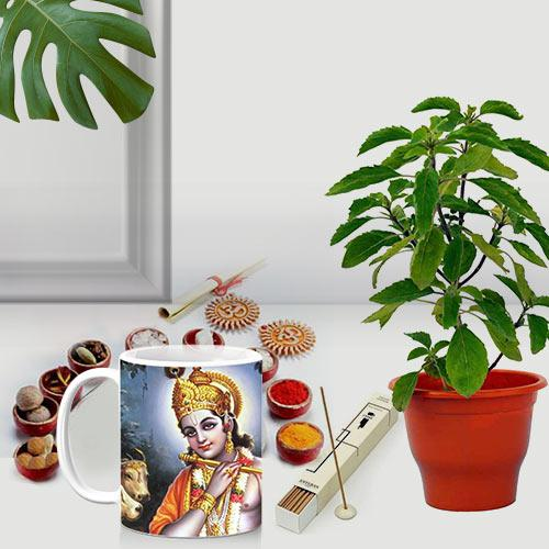 Exquisite Printed Coffee Mug with Plant and Pooja Samagri