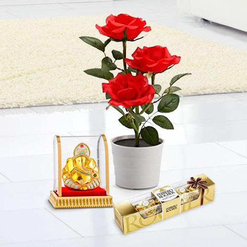 Budding Red Rose Plant with Chocolates N Ganesh Murti