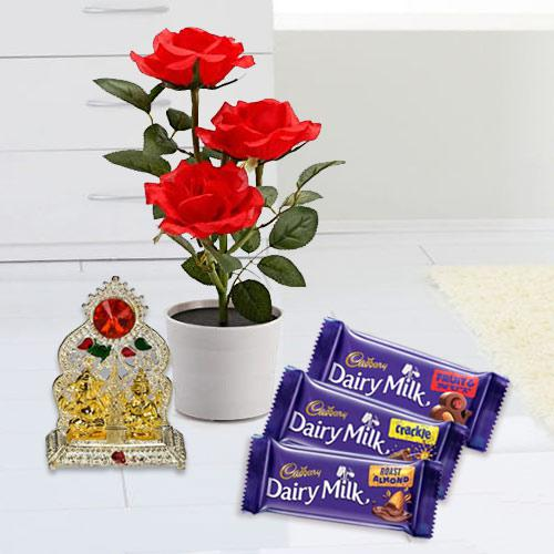 Heavenly Present of Red Rose Plant with Mandap N Chocolates