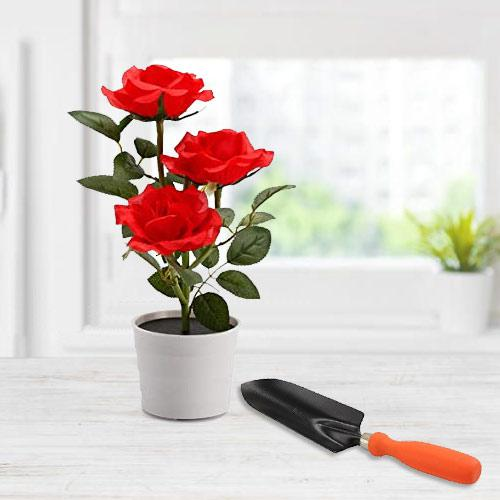 Exquisite Duo of Red Rose Planter with Small Trowel