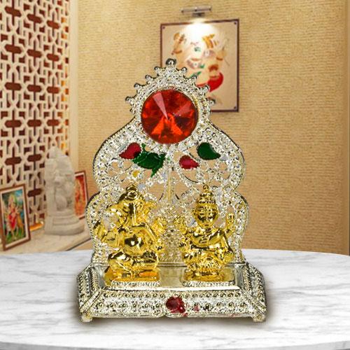 Antique Silver Plated Ganesh Laxmi Mandap