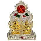 Silver Plated mandap with Golden Ganesh Laxmi Idol