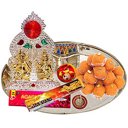 Online Ganesh Lakshmi Idols with Silver Plated Thali and Pure Ghee Ladoo