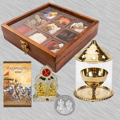 Divine Housewarming Puja Gift in Wooden Box