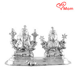 Attractive Idol of Silver Plated Laxmi Ganesh