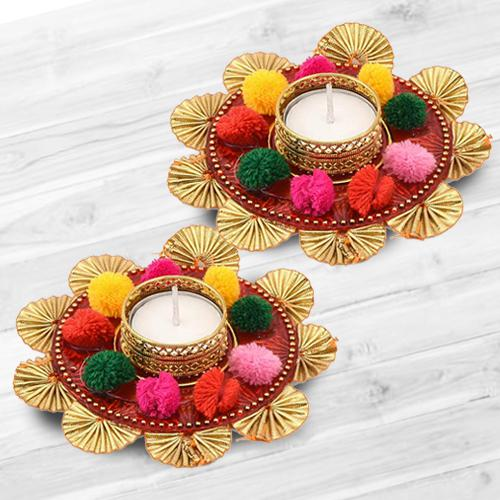 Auspicious Dual Set of Mix Color Flower Design Diya
