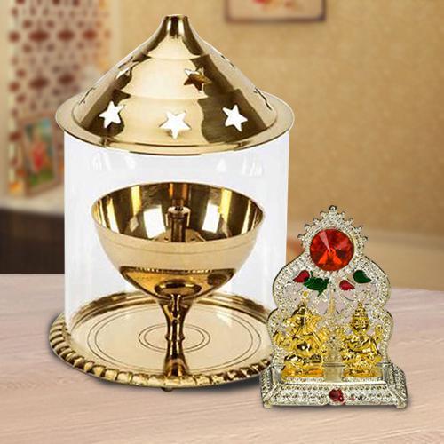 Auspicious Ganesh Laxmi Mandap with Akhand Diya N Borosilicate Glass<br>