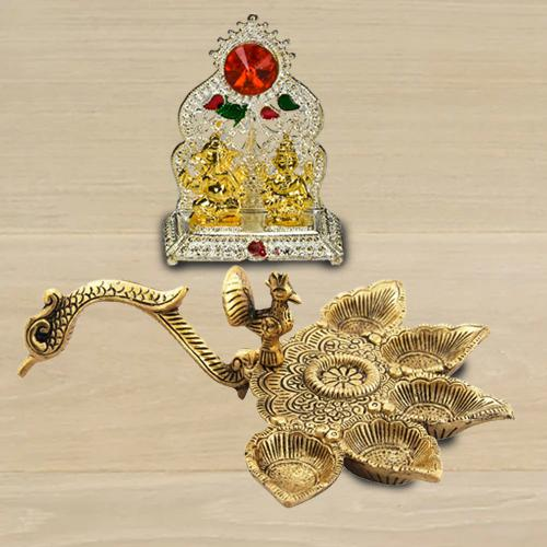 Marvelous Antique Diya with Ganesh Laxmi Mandap<br>