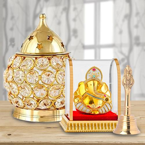 Marvelous Akhand Diya with Ganesh Idol N Ganti