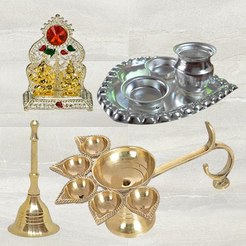 Marvelous Diya N Ghanti with Paan Shaped Thali N Ganesh Laxmi Mandap