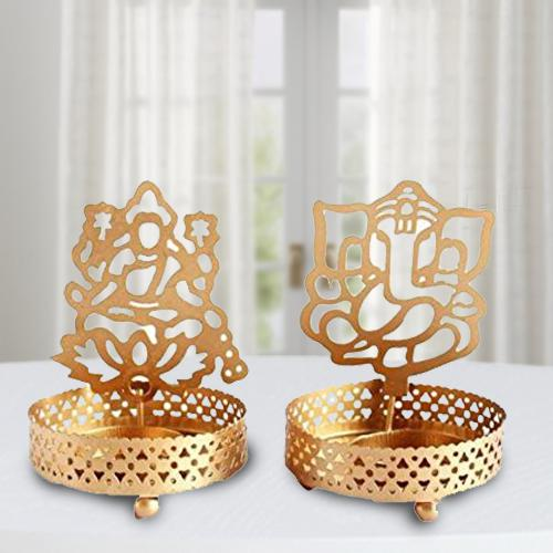 Marvelous Ganpati ji and Laxmiji Tealight Candle Holder